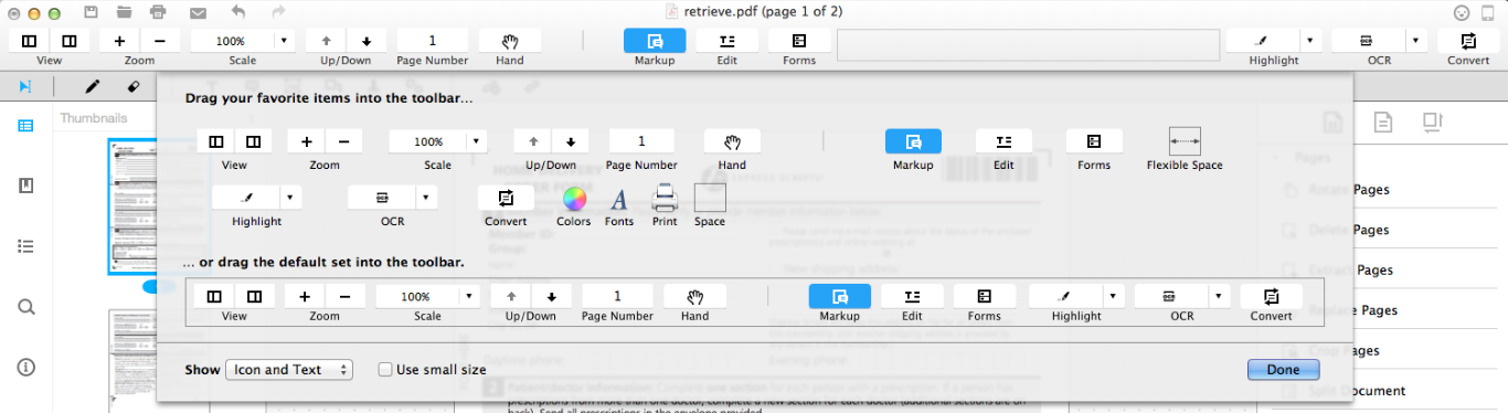 customize toolbar 2