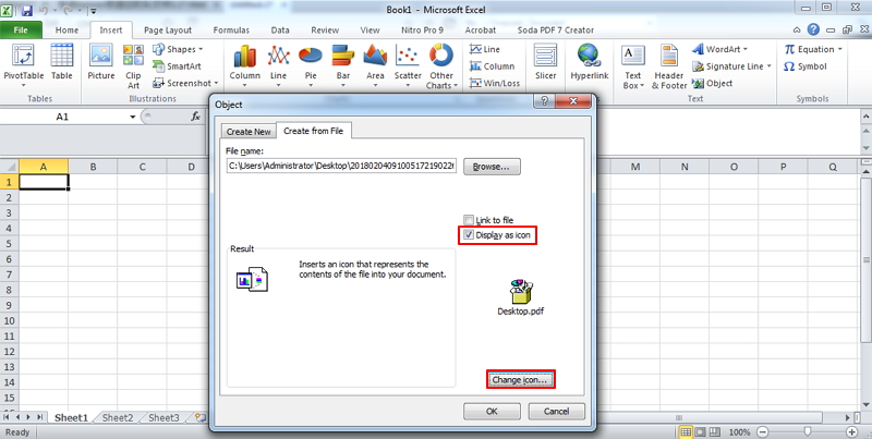 how to attach pdf in excel