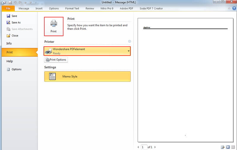 Outlook-E-Mail in PDF