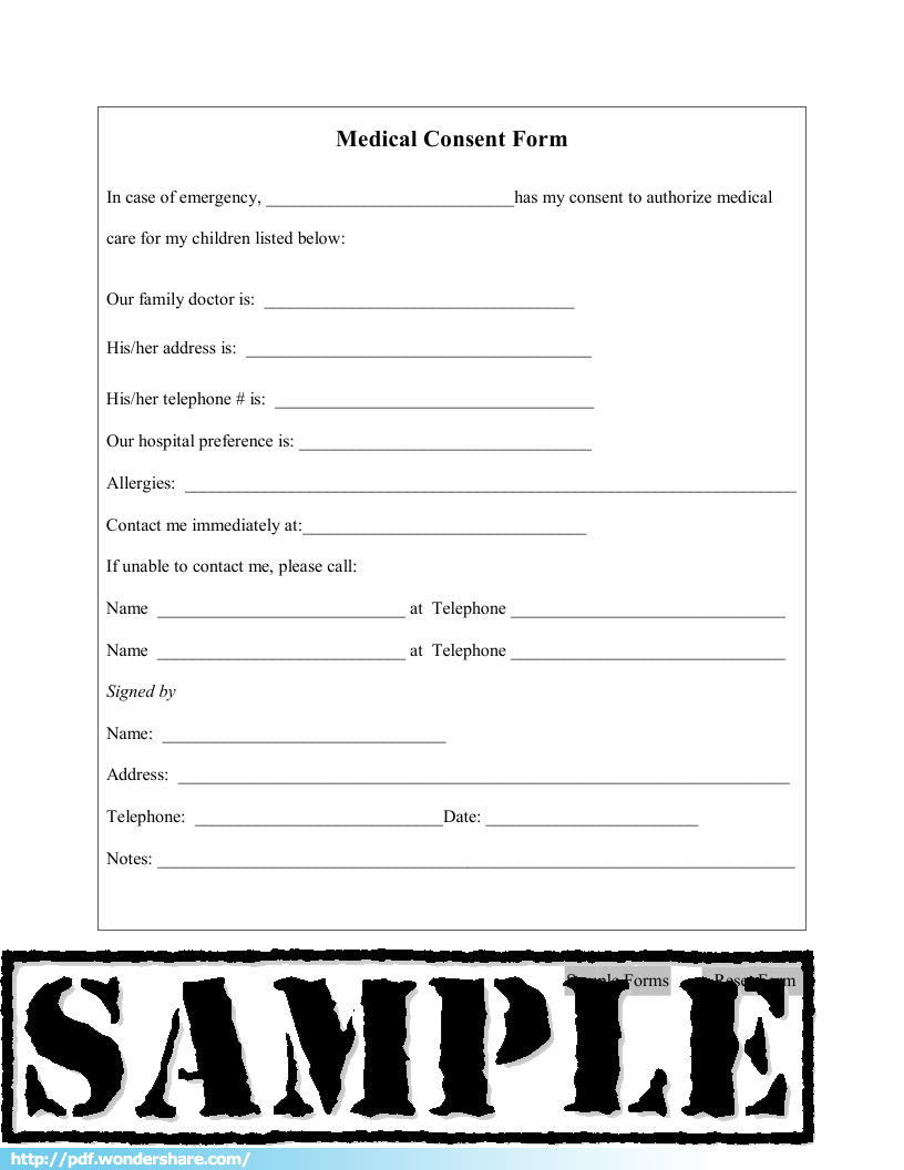 Medical Consent Free Download Create Fill Print PDF – Sample Medical Consent Form