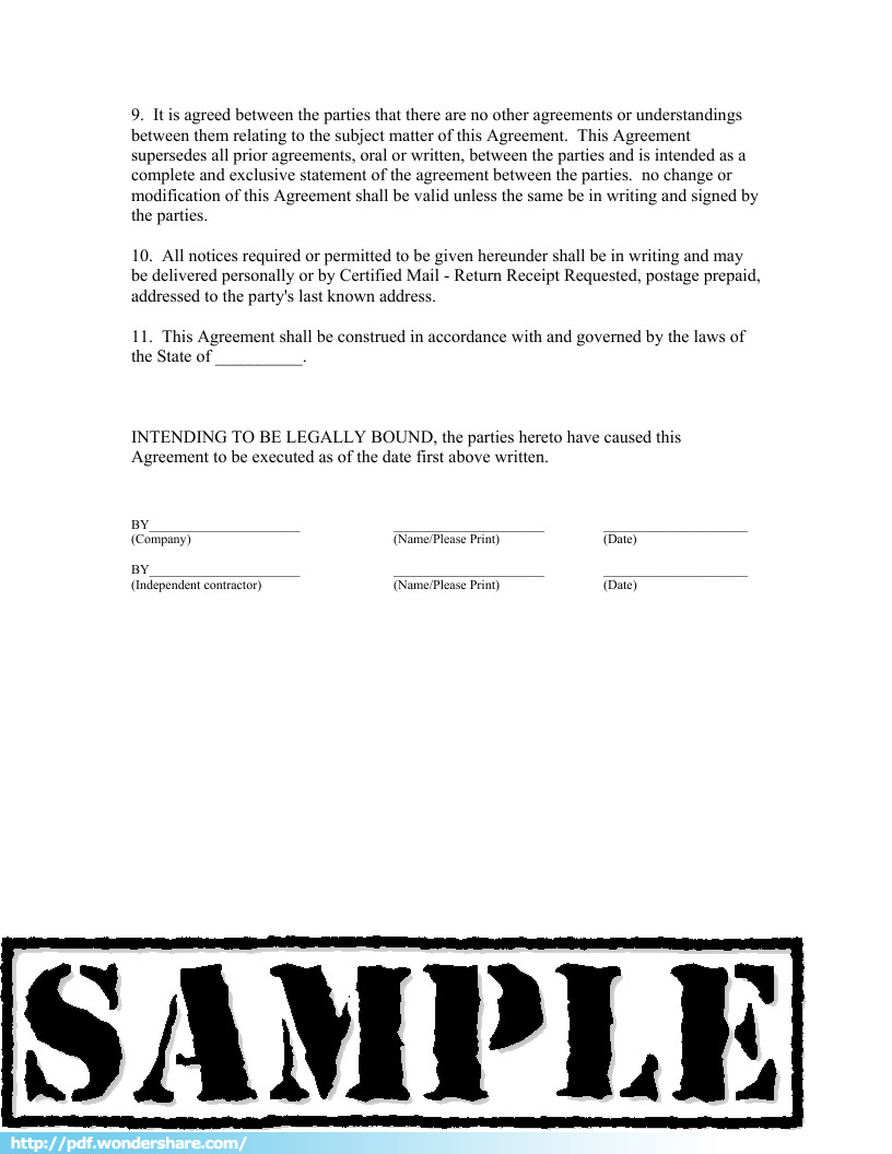 Doc400518 Sample Independent Contractor Agreement Independent – Independent Agreement Contract