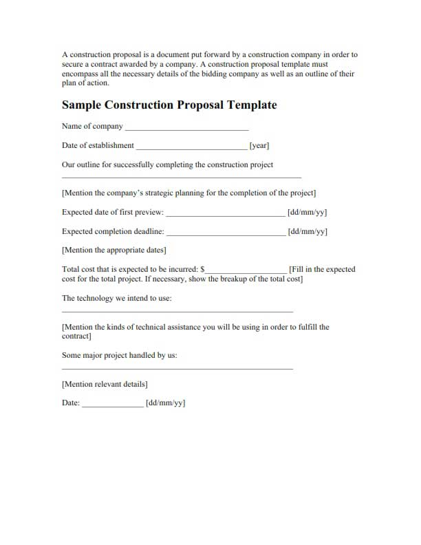 Construction research proposal sample – Construction Proposal Format