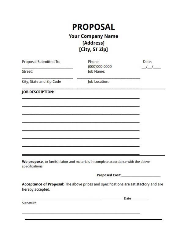 Proposal Template Free Download Create Edit Fill and Print – Construction Work Proposal Template