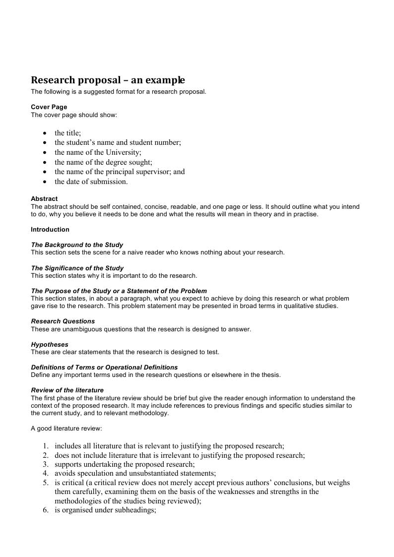 research proposal template the research proposal is normally