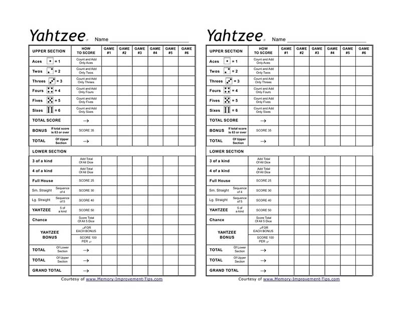 Printable Sheet Yahtzee Score Card Free - amcordesign.us