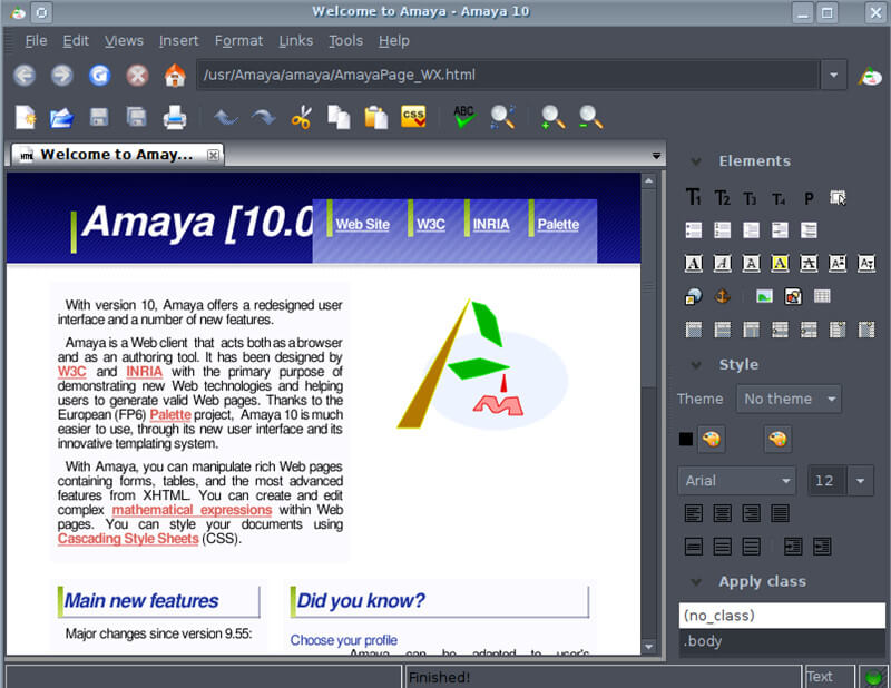 amaya HTML editor for macOS 10.15