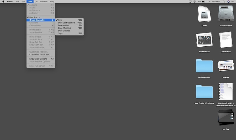 use stacks on your macos 10.14