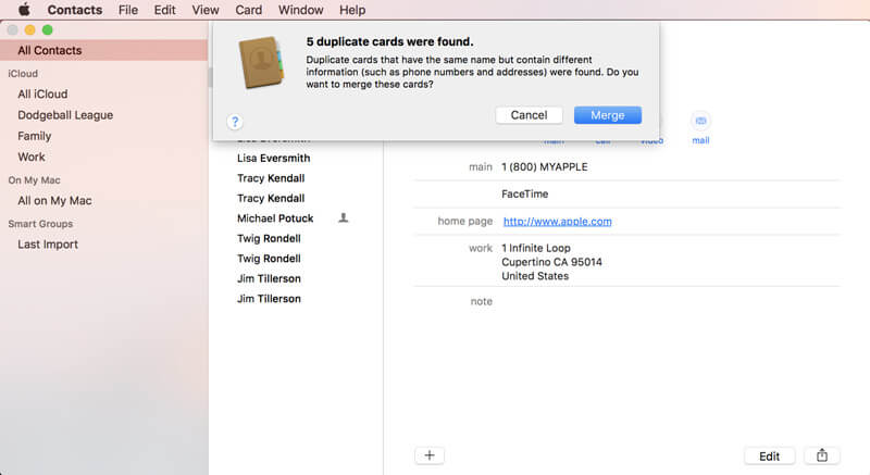merge/remove duplicate contacts on macos 10.14