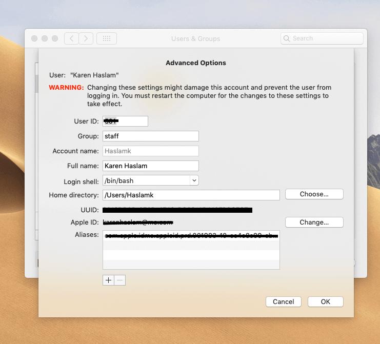changing mac username