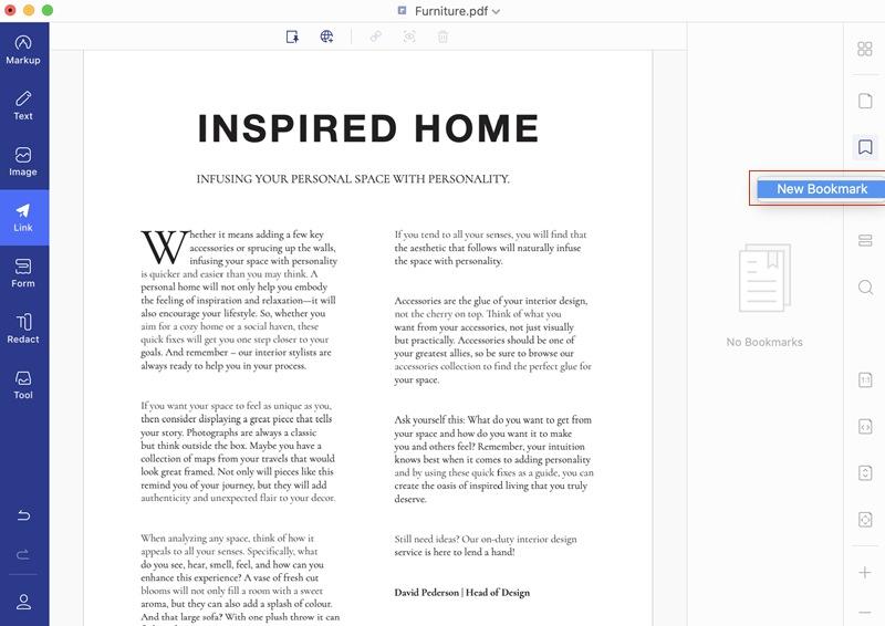 create bookmarks in pdf
