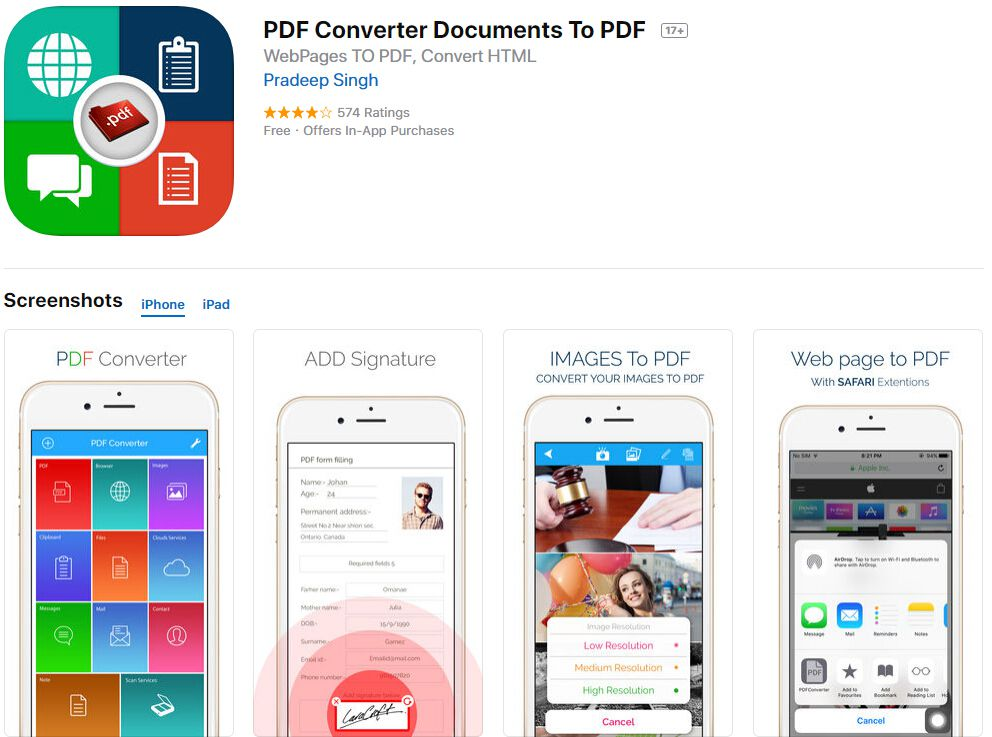 Convert picture to pdf iphone app