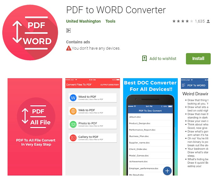 convert word to pdf android