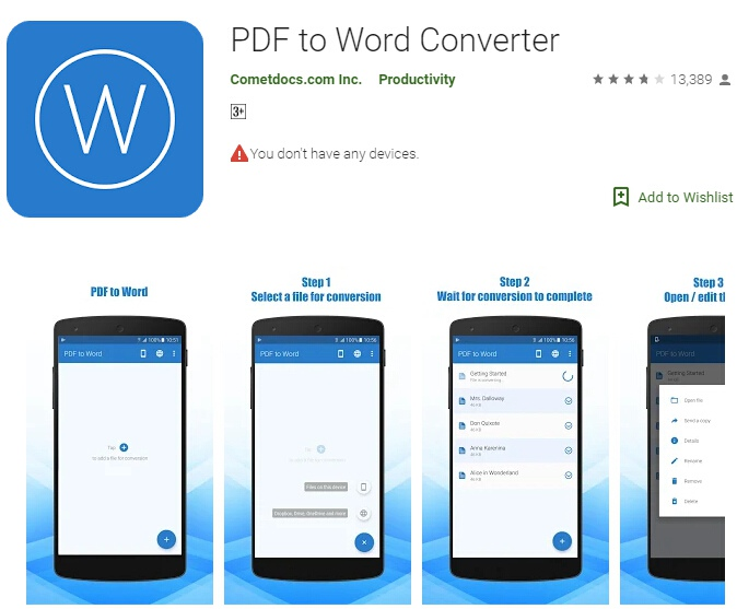 Rapid android developers pdf to word