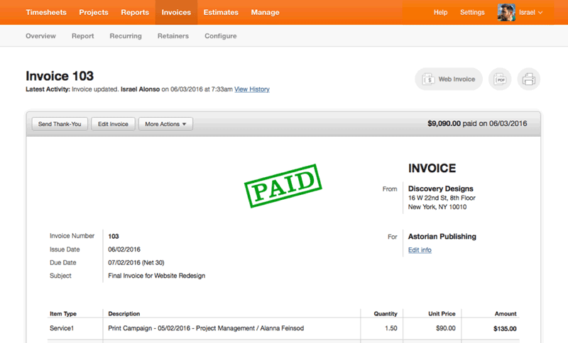 simple invoice management system