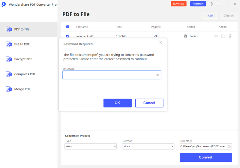 convert password protected pdf