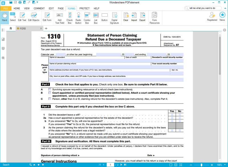 Unforgettable image pertaining to irs form 1310 printable