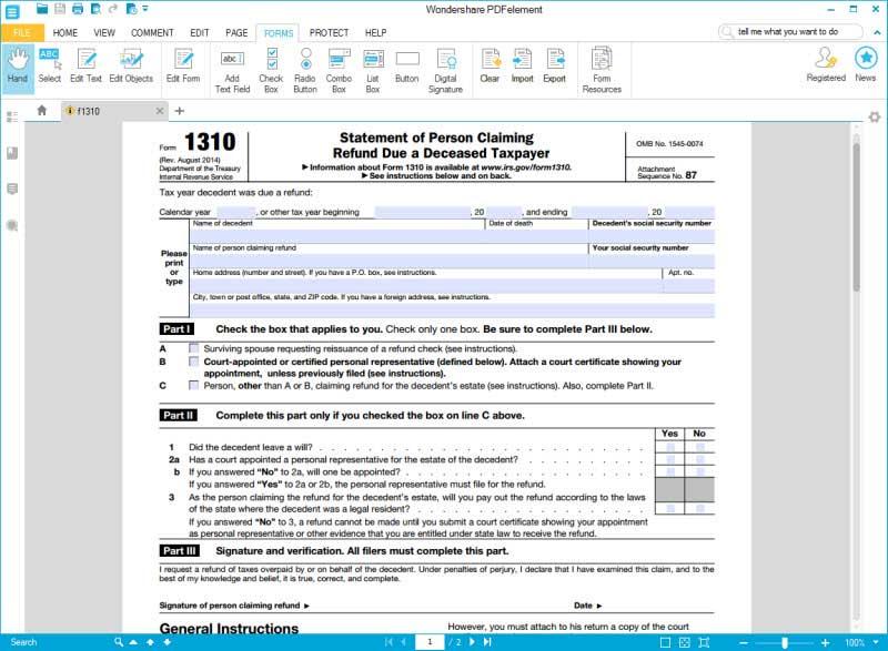 Luscious image inside irs form 1310 printable