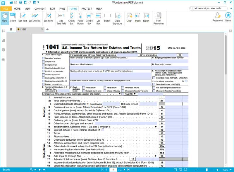 Guide for How to Fill in IRS Form 1041