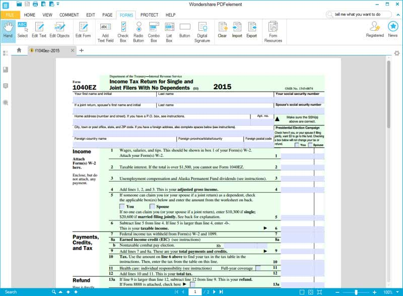 IRS Form 1040EZ Learn to How to Fill it Right Here – 1040 Ez Worksheet
