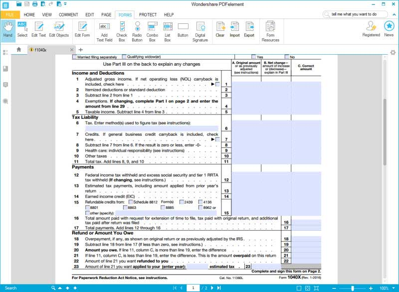 fill form 1040x 4 step 2 to 4