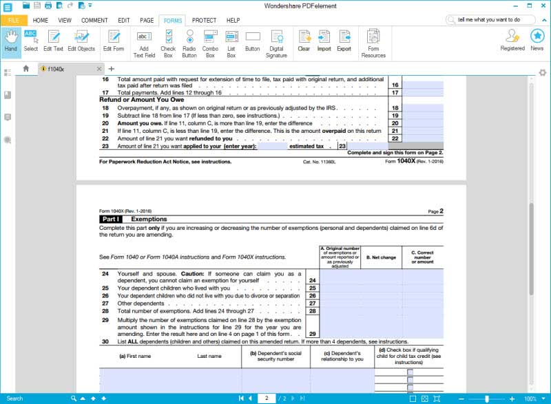 fill form 1040x 4 step 5