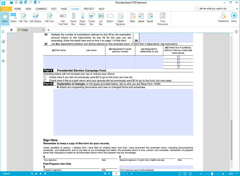 fill form 1040x 4 step 6