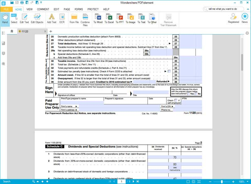 Irs Form  Complete This Form With Wondershare Pdfelement