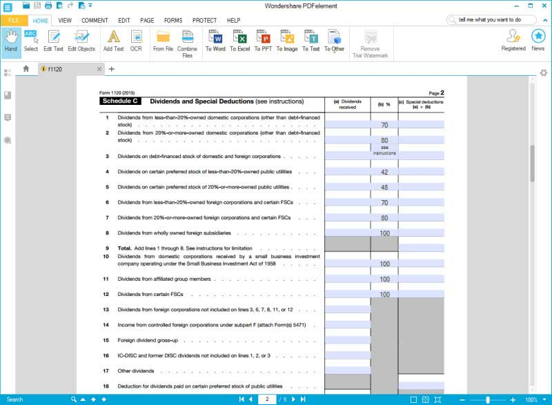 Irs Form 1120: Complete This Form With Wondershare Pdfelement