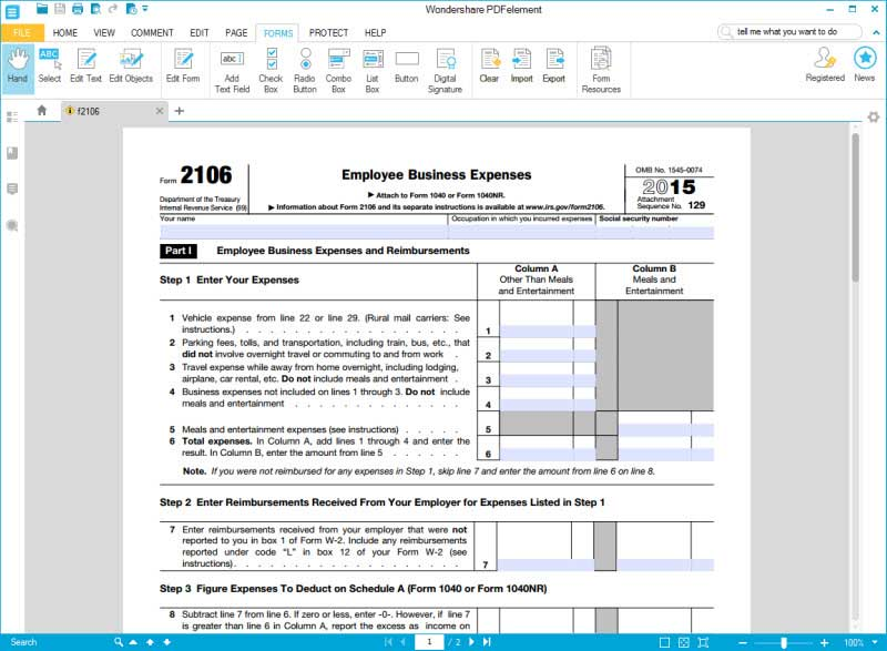 Instructions for How to Fill in IRS Form 2106
