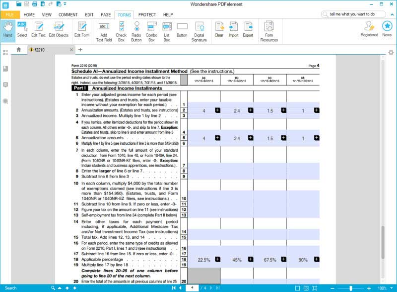 IRS Form 2210: Fill it with the Best Form Filler