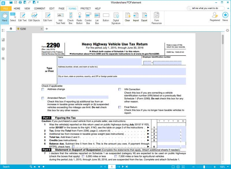 fill form 2290 part 1