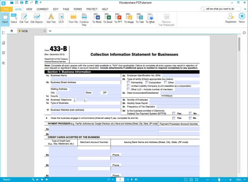 fill form 433b section 1