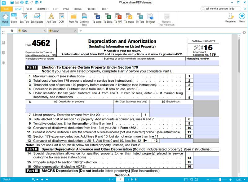 fill irs form 4562 part 1-2