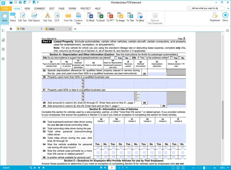 Instructions for How to Fill in IRS Form 4562