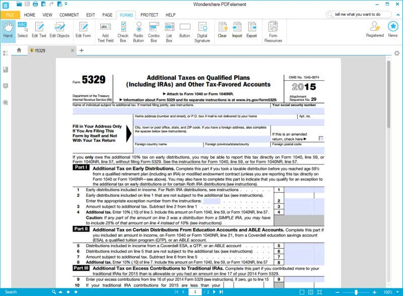 fill in irs form 5329 part 1 and 2