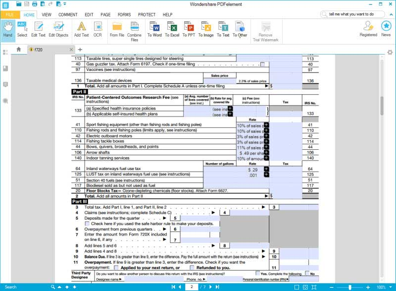 Instructions for How to Fill in IRS Form 720