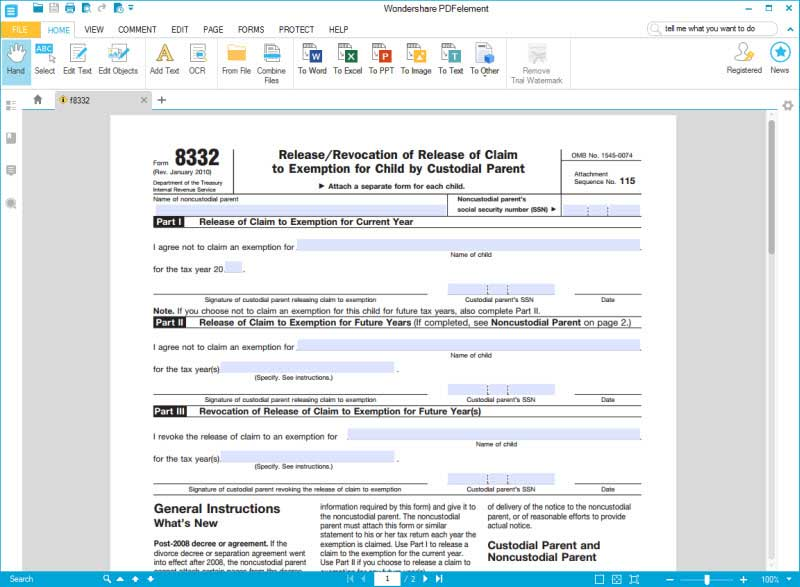IRS Form 8332: Fill it with the Best PDF Form Filler