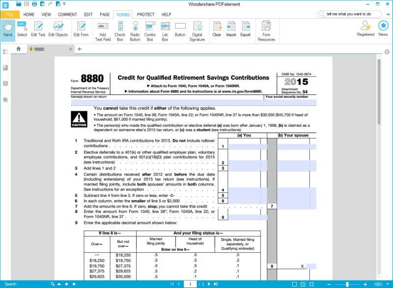 Instructions for How to Fill in IRS Form 8880