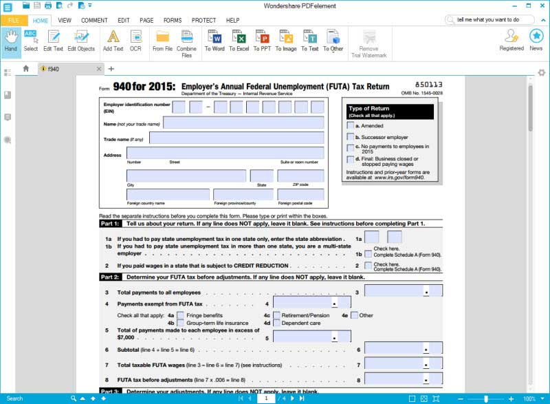 irs form 940 filling instructions to save your time