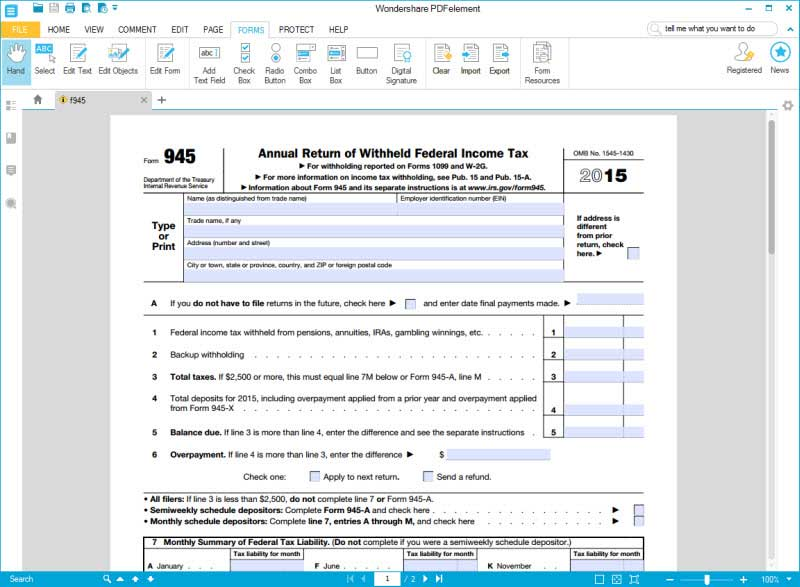 IRS Form 945: The Easiest Way to Fill it out