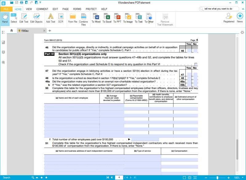 fill form 990 ez part1 6