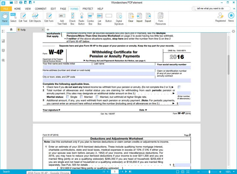IRS Form W4P Fill it out in an Efficient Way – Deductions and Adjustments Worksheet