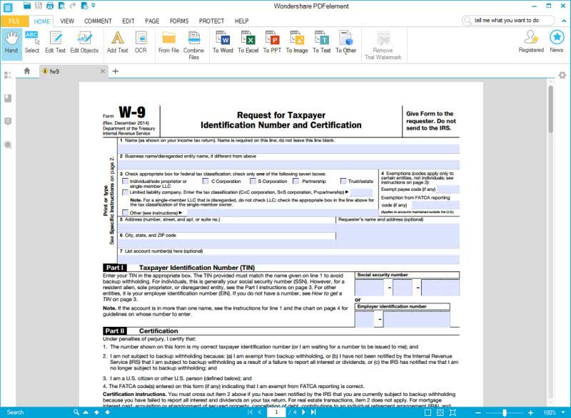 IRS Form W-9: Fill Instructions Here to Fill it Hassle-Free