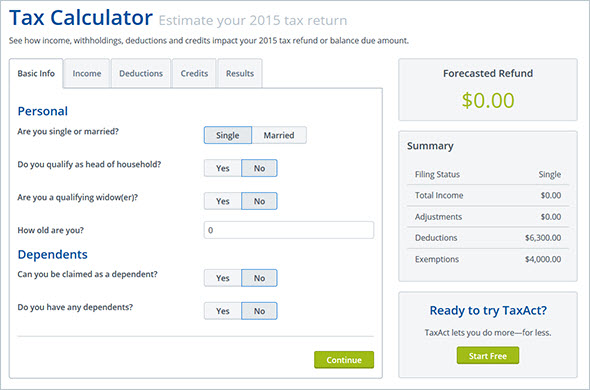 taxact tax calculator