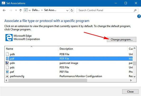altere o padrão do leitor de PDF no Windows 10