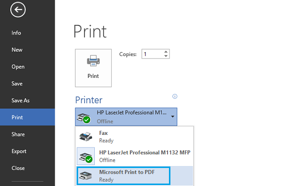 Impression au format PDF sur Windows 10