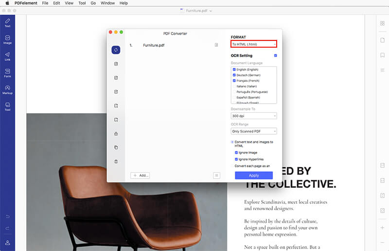 mac pdf to html