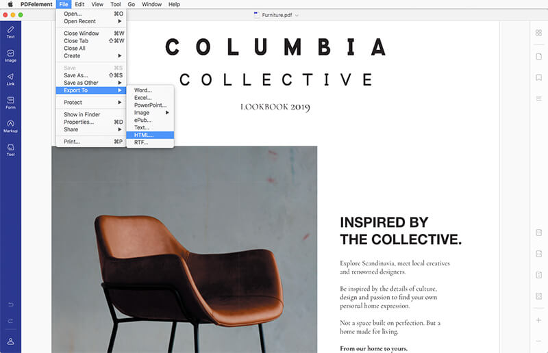 convert pdf to html mac