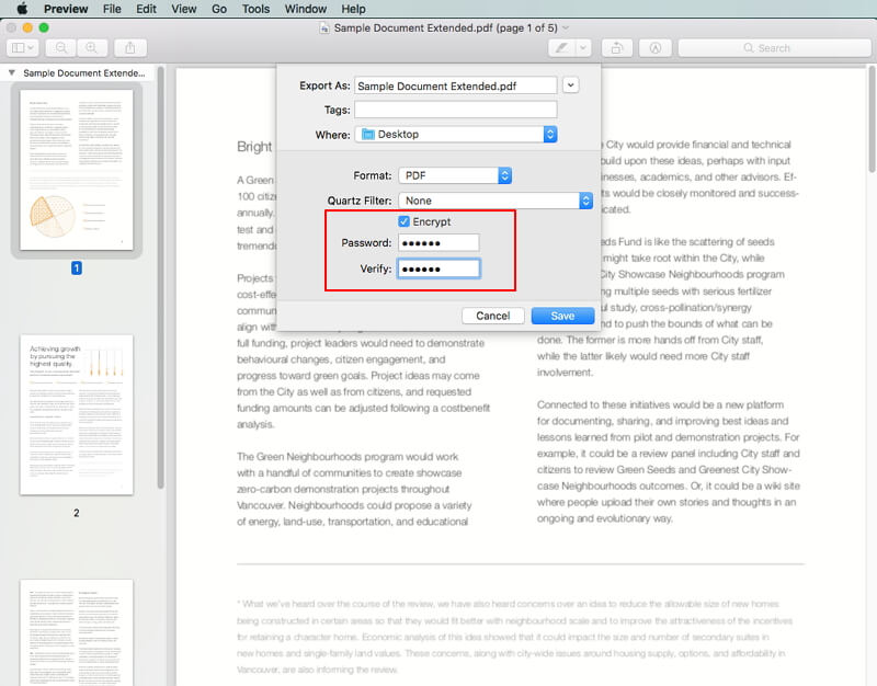 how to password protect a pdf mac