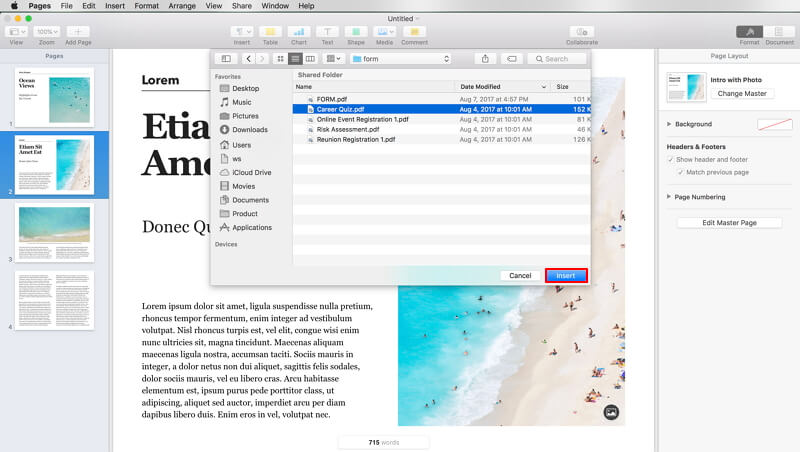 How to Open PDF in Pages for Further Editing on Mac (Mojave